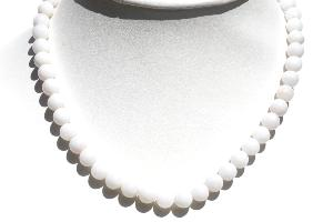Collier agate blanche (boules 9-10mm) - 47cm