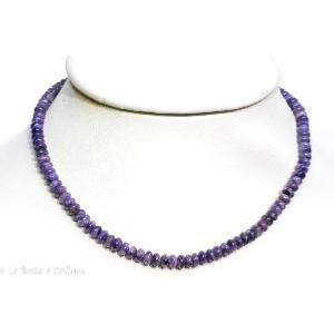 Collier charoite Extra (boutons 6mm) - 43cm