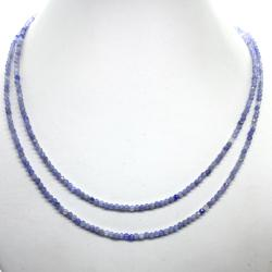 Collier tanzanite double brins (perles facettées 2,5mm)