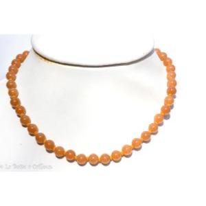 Collier aventurine rouge (boules 8mm) - 45cm