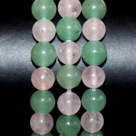 Bracelet/collier aventurine quartz rose boules 6mm