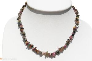 Collier tourmaline multicolore (chips) - 47cm à 51cm