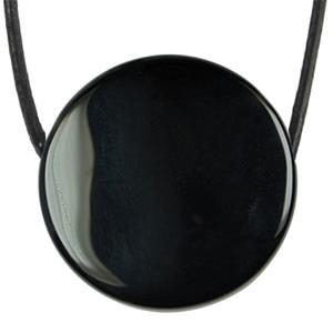 Pendentif obsidienne mirroir pierre trou e cordon for Miroir obsidienne