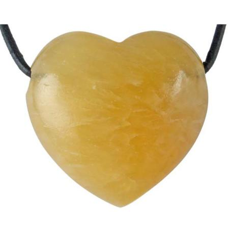 Coeur percé calcite orange 30mm + cordon en cuir