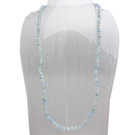 Collier aigue-marine (perles facettées 3-4mm) - 45cm