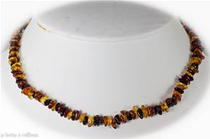 Collier ambre multicolor baroque - 40cm-44cm réglable
