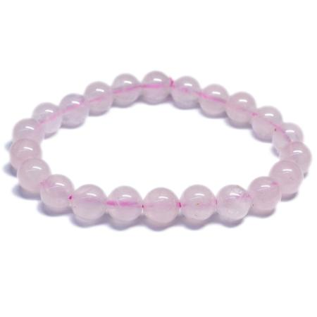 Bracelet quartz rose (boules 8mm)