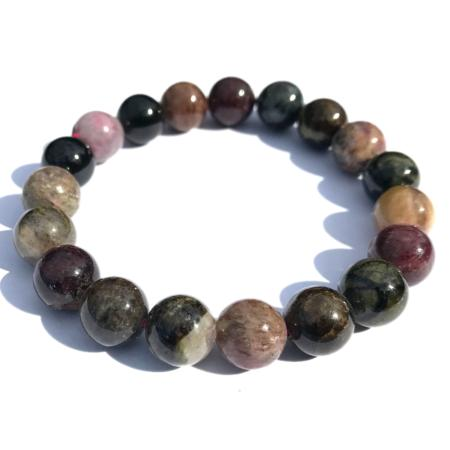 Bracelet tourmaline multicolore (boules 10mm)