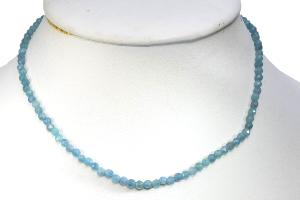Collier aigue-marine (pierres facettées) - 43cm
