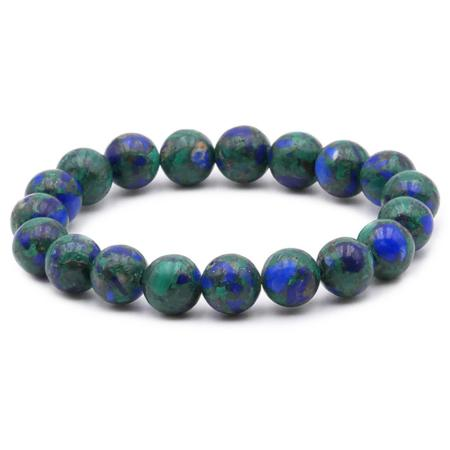 Bracelet azurite-malachite naturelle Mexique A+ (boules 10mm)
