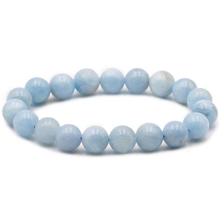 Bracelet aigue marine AB (boules 10mm)