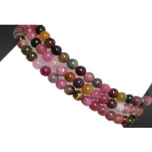 Bracelet/collier tourmaline multicolore (boules 4mm)