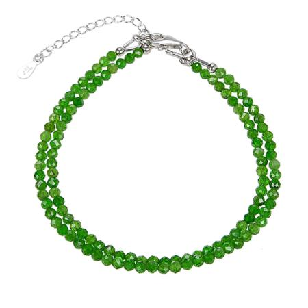 Bracelet diopside chrome double brins (perles facettées 3-4mm)