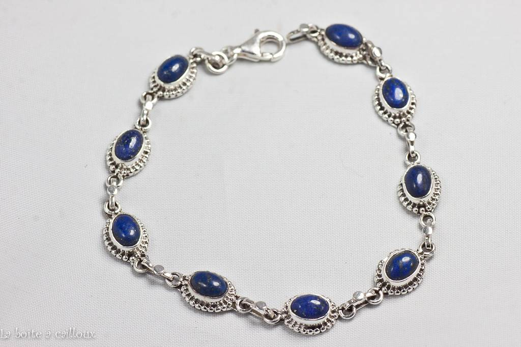 bracelet lapis lazuli argent 925. Black Bedroom Furniture Sets. Home Design Ideas