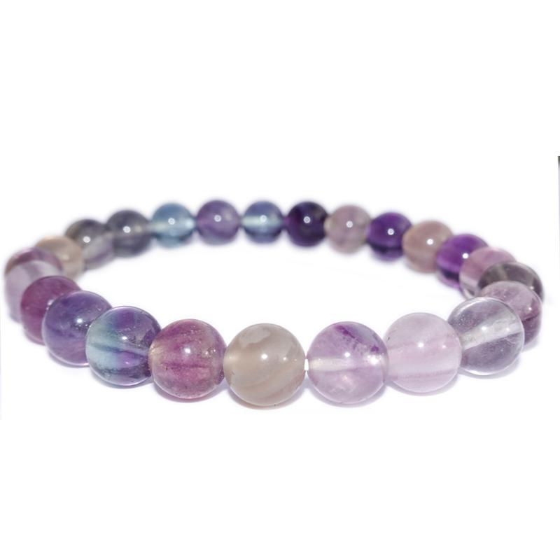 """Bracelet Lithothérapie en pierre naturelle  /"""" Fluorine /""""  boules 8 mm"""