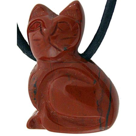 Pendentif chat 25mm jaspe rouge