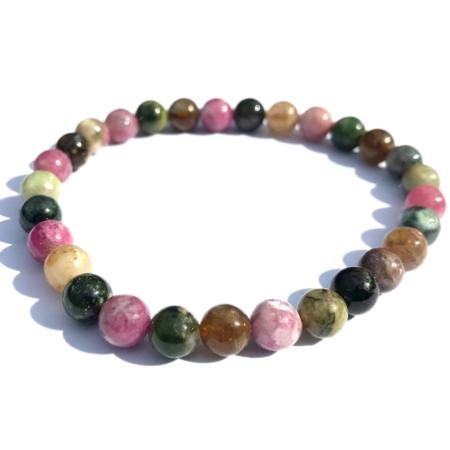 Bracelet tourmaline multicolore (boules 5-6mm)