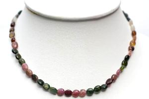 Collier tourmaline multicolore (pierres plates) - 46cm
