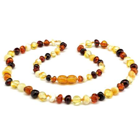 Collier ambre multicolore (perles 5-6mm) 45cm