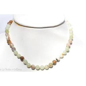 Collier aragonite verte (boules 8mm) - 45cm