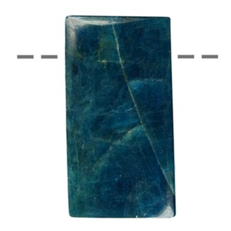 Pendentif apatite bleue rectangle (pierre trouée) + cordon en cuir