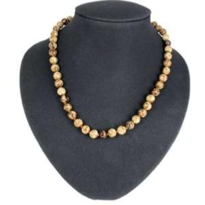 Collier aragonite marron (boules 8mm) - 45cm