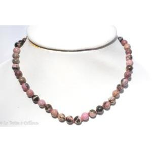 Collier rhodonite (boules 8mm) - 45cm