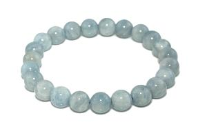Bracelet aigue marine (boules de 8mm)