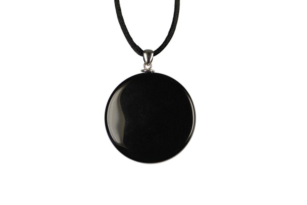 Pendentif obsidienne miroir argent 925 cordon for Miroir obsidienne